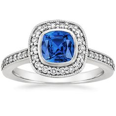 18K White Gold Sapphire Fancy Bezel Halo Diamond Ring with Side Stones from Brilliant Earth