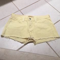 J Brand Yellow Shorts Stain on back pocket (pictured) not really noticeable, otherwise good condition. J Brand Shorts