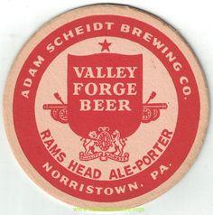 Valley Forge Rams Head Ale Beer Coaster Valley Forge, Ale Beer, Beer Coasters, Brewing Co