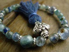 Kyanite and Silver wrist Mala beads