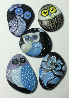 #owls,,#painted stone ,,, by sydn_art