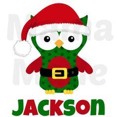 Boy's Santa Owl Christmas Shirt Boy's Christmas by mamamadebows, $15.00