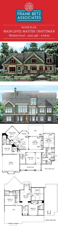 Walden Pond: 3325 sqft, 4 bdrm, main-level-master craftsman house plan design by Frank Betz Associates Inc.