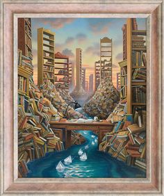 Jacek Yerka - Ink valley, 2012 - acrylic, canvas ... I wish I could afford this :)  I love it!!