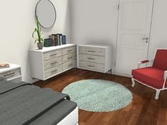 3D floor plan for an older child, perhaps a girl. Painted walls with hardwood flooring and area rug offer flexibility. Bed with neutral hues let the arm chair be a focal point. Dressers from West Elm are lovely and current. Visualize your child's bedroom in 3D!