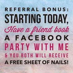 Book a Facebook Party with me, or refer a friend who books a Facebook Party with me - and I will send you a #Free gift! Comment or email me JamminNailsByKim@gmail.com with questions or to book. #FacebookParty #Party #Jamberry #JamberryNails #NailWraps #ManiPedi #Jambicure #Manicure #Pedicure #JamminNailsByKim #FreeJamberry #FreeNailWraps
