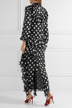 Gucci - Ruffled Printed Silk-charmeuse Gown - Black - IT44