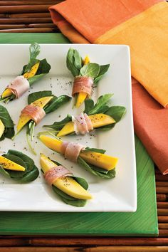 For a simple, fresh appetizer, wrap mango slices and arugula in paper-thin slices of prosciutto. For a slightly different flavor, substitute another fruit, such as pear or cantaloupe, for mango.  Recipe: Prosciutto-Wrapped Mango Bites