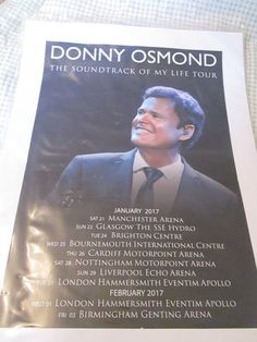 Donny Osmond poster soundtrack of my life 2017 UK Concert Posters, Movie Posters, Donny Osmond, Nottingham, Cardiff, Glasgow, Soundtrack, Brighton, Of My Life