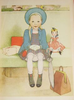 """At the Train Station"" illustration by Marjorie Torrey from ""Penny,"" 1944"