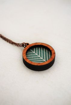 Wood And Teal Pendant Necklace  Arrow Tail Design by mmimdesigns, $28.00