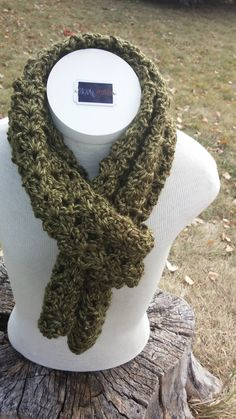 Sage Green Crocheted Scarf