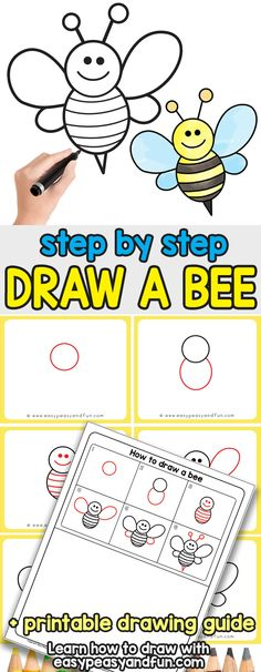 How to Draw a Bee - Easy step by step drawing tutorial for kids and beginners