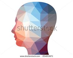 Creative polygon illustration of human head