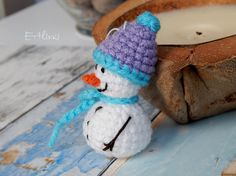 Christmas Decoration. Soft Tree Ornament Crochet Miniature Snowman with Purple Hat and Blue Scarf Winter Holiday Decor Traditional Home Gift