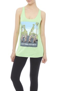Bright green walking bears California Republic printed tank with a scoop neckline and racer back.  Walking Bears Tank by Bear Dance. Clothing - Tops - Graphic Tees Clothing - Tops - Tees & Tanks Clothing - Tops - Sleeveless Indiana