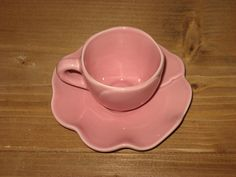 CHRISTMAS SALE! Barrarte Cup & Saucer, Demitasse, Tea Cup, Made in Portugal, Flower Petal, Peach PINK Rose, Tea, Coffee, Serving Ware, Mint! by BlueSkyTeaCups on Etsy
