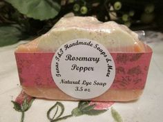 Texas T&T Rosemary Pepper Natural Home Made Lye Soap Coconut Oil 3.5 oz by TexasTAndT on Etsy
