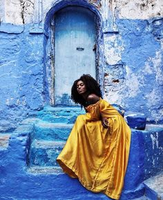 Friday vibes. @spiritedpursuit // Chefchaouen, Morocco. #travelnoire #chefchaouen