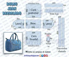 Duffle Bag Patterns, Denim Bag Patterns, Bag Patterns To Sew, Denim Handbags, Denim Tote Bags, Diy Tote Bag, Denim Purse, Leather Bags Handmade, Handmade Bags