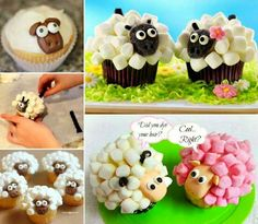 """<input class=""""jpibfi"""" type=""""hidden"""" >These extremely simple sheep cupcakes are so adorable ! They are made from frosted white icing and marshmallows then iced with a chubby sheep face.These are so sim(Easter Baking Sheep) Lamb Cupcakes, Sheep Cupcakes, Sheep Cake, Flower Cupcakes, Cupcake Tutorial, Diy Cupcake, Cupcake Cakes, Cup Cakes, Cute Marshmallows"""