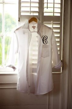Monogrammed men's shirt for the Bride and bridal party to wear while we get ready