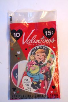 Vintage NOS Set of 10 Valentines Unopened Packed by retrowarehouse