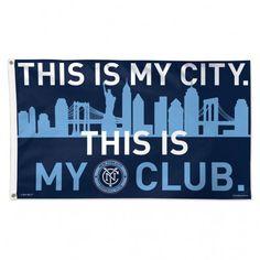 New York City FC MLS WinCraft Sports Blue Deluxe Indoor Outdoor Flag (3' x 5')