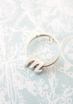 Personalised Silver Initial Letter Ring - Silver Bridesmaid gifts, silver letter jewelry, best friend sister girlfriend bridesmaid ring, www.colormemissy.com
