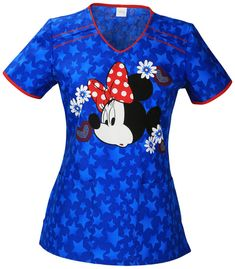 This Tooniforms by Cherokee Women's V-Neck Minnie Mouse Print Scrub Top is great for feeling patriotic during July Memorial Day, Labor Day, and any time. Americana colors and a cute print enhance the comfort of this scrub style. Disney Scrubs, Disney Shirts, Baby Phat Scrubs, Cute Scrubs, Scrubs Outfit, Cherokee Woman, Medical Scrubs, Nursing Scrubs, Shoes