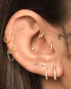 Tragus Piercing Jewelry, Helix Jewelry, Tragus Piercings, Ear Jewelry, Cartilage Earrings, Piercing Tattoo, Jewellery, Pretty Ear Piercings, Ear Peircings