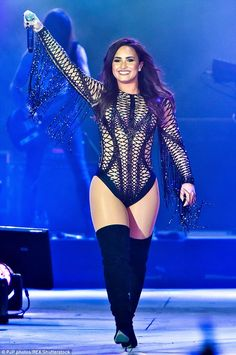 Exposure! Demi Lovato donned an outrageous sheer and mesh bodysuit for her show in Dubai on Friday