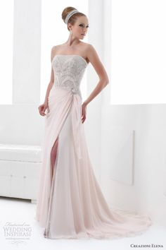 creazioni elena color wedding dresses 2013 pink strapless gown