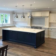 A recent project completed in this beautiful Georgian property. The island finished in the striking Basalt colour Kitchen Diner Extension, Open Plan Kitchen Diner, Open Plan Kitchen Living Room, Kitchen Dining Living, Kitchen Family Rooms, Home Decor Kitchen, Country Kitchen, Kitchen Interior, New Kitchen