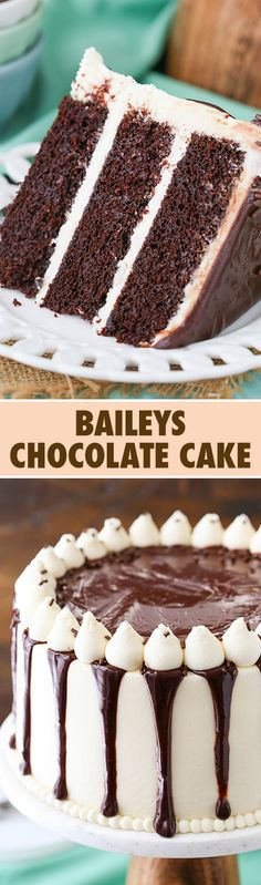DIY Baileys Chocolate Cake - This Baileys Chocolate Layer Cake combines two of my favorite things - Baileys and chocolate - in one amazing moist and fun layer cake! Baking Recipes, Cake Recipes, Dessert Recipes, Just Desserts, Delicious Desserts, Desserts Diy, Chocolate Recipes, Cake Chocolate, Delicious Chocolate