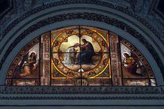 Coronation Stained Glass Window, Santa Maria Sopra Minerva, Rome Rosary Meditations, Catholic Art, Bible Stories, Stained Glass Windows, Santa Maria, Rome, Saints, Painting, Catholic Crafts