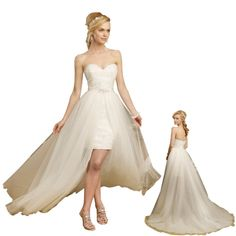 hi low wedding dresses | high low strapless sweetheart all over lace detached train wedding ...