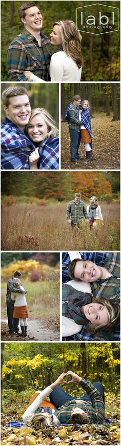Toledo Ohio Photographer  Cute Couple, Couple Photography, Fall blanket photo shoot, Love, Fall couple, Flannel, orange, green, what to wear, LABLphoto, fall photo shoot, couple, fall engagement photo shoot, fall photos, fall photoshoot, carving initials into a tree, leaves,