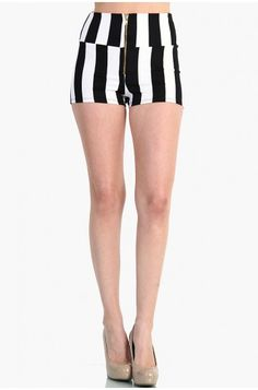 OMG ZIP UP HIGH WAIST STRIPPED SHORTS - BLACK / WHITE