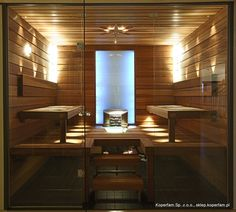 Sauna - WeLike the clean sharp lines of this sauna Japanese Bathroom, Spanish Modern, Insulation Materials, Steam Room, Home Spa, Tiny House, Modern Design, Relax, Dining Table