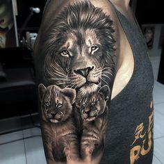 Learn more about tattoo styles and the work of Samurai Standoff - samuraistandoff (Tattoo artist). Daddy Tattoos, Lion Head Tattoos, Forarm Tattoos, Cool Arm Tattoos, Upper Arm Tattoos, Lion Sleeve, Tiger Tattoo Sleeve, Lion Tattoo Sleeves, Sleeve Tattoos