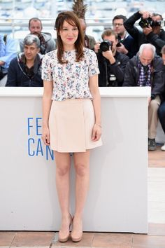 Fabulously Spotted: Anais Demoustier Wearing Miu Miu - 'Bird People' 2014 Cannes Film Festival Photocall - http://www.becauseiamfabulous.com/2014/05/anais-demoustier-wearing-miu-miu-bird-people-2014-cannes-film-festival-photocall/