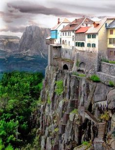 Incredible shot of seaside houses Cliffside in the city of Ronda, Spain