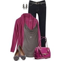 magenta sweater from Target and bag, gray top and flats, black jeans