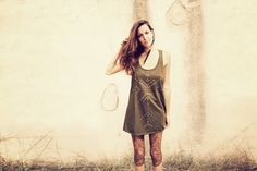 NAVAJO TANK DRESS // olive green // studded tribal by SiamicWear, €48.00