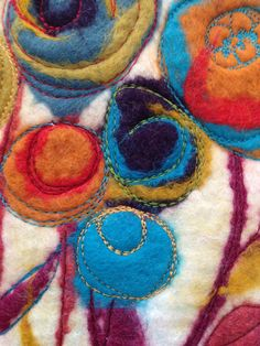Wet felt - machine embroidery Nicola Overton Art Felt Colour