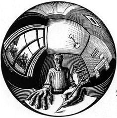 MC Escher: Spherical Self Portrait, 1950 Mc Escher, Escher Kunst, Escher Art, Art Sketches, Art Drawings, Perspective Drawing Lessons, Point Perspective, Dutch Artists, Op Art