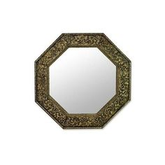 NOVICA Brass Repoussé Wall Mirror Indian Artist Hand Made ($120) ❤ liked on Polyvore featuring home, home decor, mirrors, metallic, other, wall decor, novica, polished brass mirror, brass mirror and octagon mirror