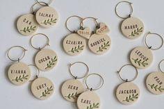 Custom Wine Glass Tags | Leafy Branch Personalized Ceramic Wine Glass Charms - wedding ...