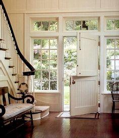 """Country Entryway with Leamington walnut wood 40"""" wide bench, Dutch door, Nicks building supply exterior dutch door"""